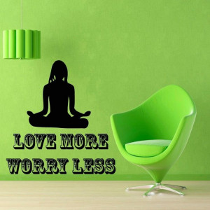 Wall Decals Quote Yoga Woman Love More.. Vinyl Sticker Murals Wall ...