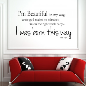 ... BORN THIS WAY Lady Gaga wall quote bedroom teens vinyl wall decal