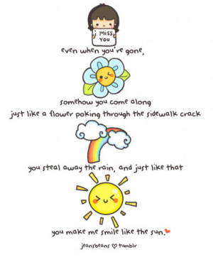 adorable, cute, drawing, flower, love, miss, quote, rain, sun, text ...