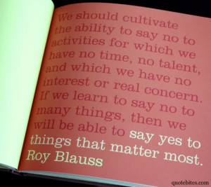 say yes to the things that matter most