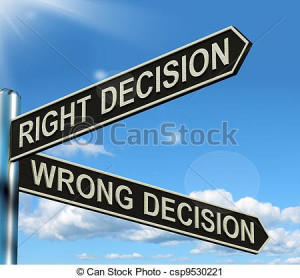 Stock Illustration - Right Or Wrong Decision Signpost Shows Confusion ...