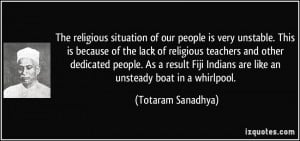 The religious situation of our people is very unstable. This is ...