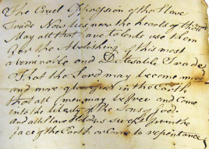 Letter from a Quaker opposing the slave trade