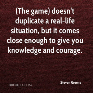 The Game) Doesn't Duplicate a Real-Life Situation, But It Comes ...