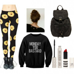 sweater leggings floral grunge soft grunge funny tumblr hipster monday ...