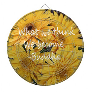 Pretty yellow flowers and an inspirational quote dart board