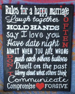 Rules for a Happy Marriage Sign - 11 x 14 Canvas Wall Art - Subway ...