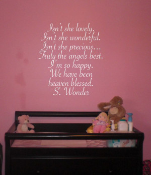 Isn't she lovely Stevie Wonder 16x24 Vinyl Wall Lettering Words Quotes ...