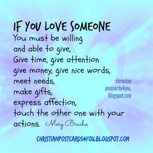 love someone, give, show your love giving, free nice christian quotes ...