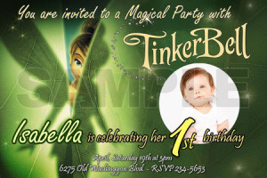Details about TINKERBELL FAIRIES BIRTHDAY PARTY INVITATION PHOTO 1ST ...