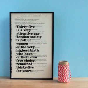 Oscar Wilde Birthday Gift Funny Quote on Upcycled Framed Book Page