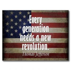 Thomas Jefferson Quote on Revolution Post Cards