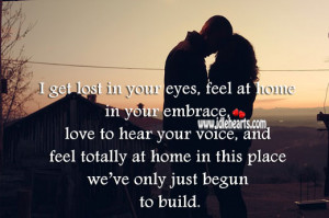 get lost in your eyes, feel at home in your embrace, love to hear your ...