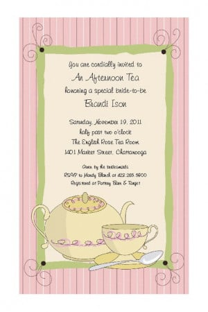 Tea Party Invitations for Bridal Shower, Birthday Party, Ladies ...
