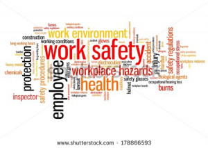 Work safety issues and concepts word cloud illustration. Word collage ...