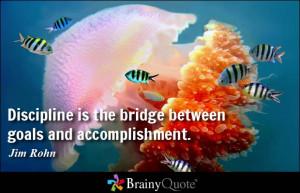 Discipline is the bridge between goals and accomplishment.