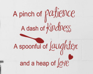 Kitchen Wall decals Recipe quote Pinch of patience Dash of Kindness ...
