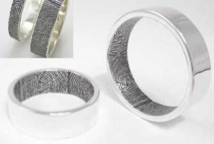 wedding ring engraving ideas, fingerprint and thumbprint wedding rings