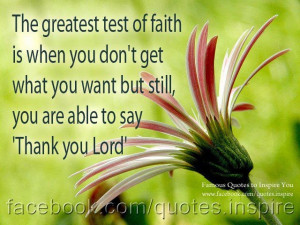 Thank you Lord : the greatest test of faith