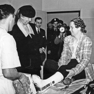 First Lady Eleanor Roosevelt, visiting World War II Home Front patient ...