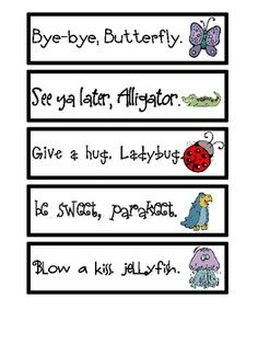 Hang these rhyming goodbye sayings by your door and have your student ...