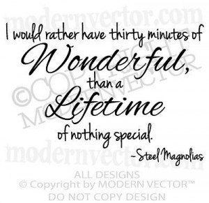 STEEL MAGNOLIAS Movie Quote Vinyl Wall Decal Lettering MINUTES OF ...