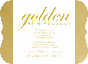 Shimmering Golden 50th Anniversary Party Invitation by PurpleTrail.com ...