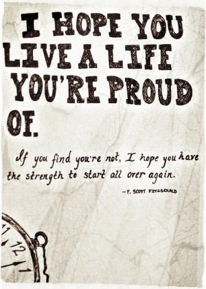 life quotes true live hope strength F. Scott Fitzgerald start over ...