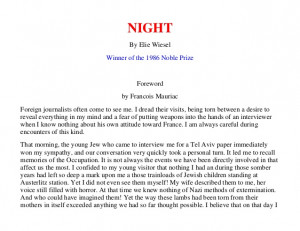NIGHT By Elie Wiesel Winner of the 1986 Noble Prize ...