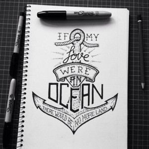 Anchor & love quote drawing
