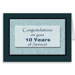 Employee 10 Years of Service Anniversary Greeting Card