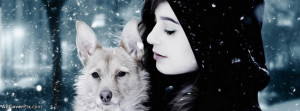 Innocent Girl With Wolf Facebook Cover Photos