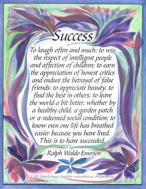 Success Ralph Waldo Emerson poster (8x11) - Heartful Art by Raphaella ...