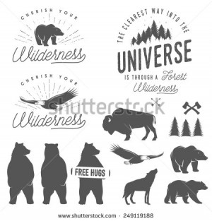 Set of wilderness quotes, emblems, silhouettes and design elements ...