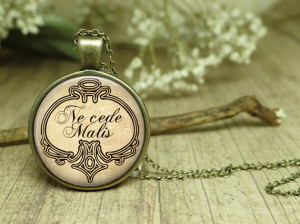 Latin Quote Necklace Ne Cede Malis Yield not to misfortune Quote ...