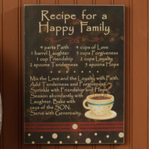 Wooden Sign - Recipe For a Happy Family