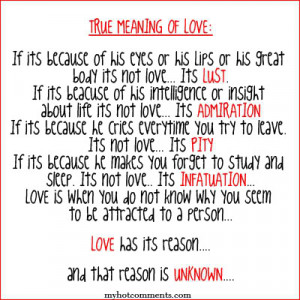 True love is the love Jesus gave his own life payed for our sins .This ...