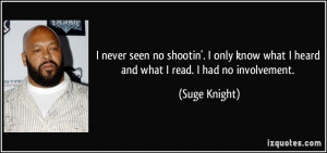 ... know what I heard and what I read. I had no involvement. - Suge Knight