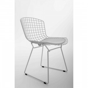 harry bertoia wire side chair black cushion