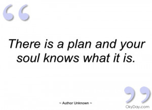 there is a plan and your soul knows what author unknown