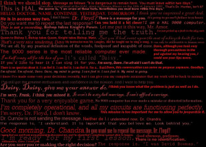 Hal 9000 quotes by dragontamer75
