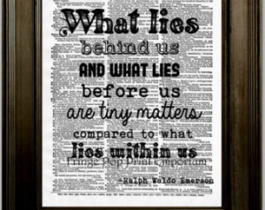 Ralph Waldo Emerson Quote Art Print 8 x 10 Dictionary Page - What lies ...
