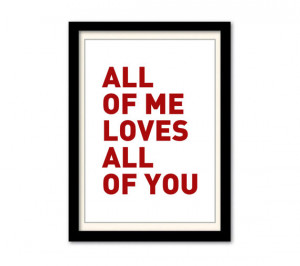John Legend - All Of Me Typography Word Lyric Quote Poster A3