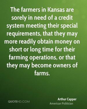 The farmers in Kansas are sorely in need of a credit system meeting ...