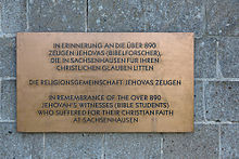 Memorial to the Jehovah's Witnesses of Sachsenhausen concentration ...