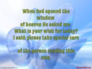 When God opened the window of heaven...
