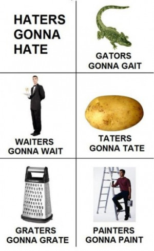 Haters gonna hate. Taters gonna tate.