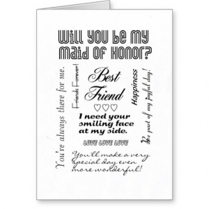 Will You Be My Maid of Honor, Best Friend? Cards