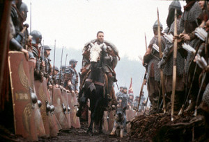 Roman General Maximus (Russell Crowe) is honored by the Roman Legions ...