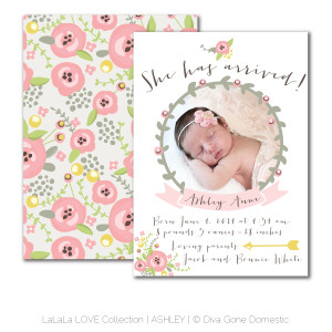 ... / Whimsical baby girl floral birth announcement – Ashley